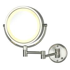 lighted wall makeup mirror 10x mounted vanity magnifying swing arm