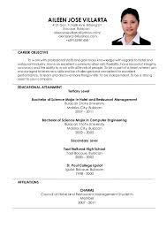 Sample Resume For Fresh Graduates Hotel And Restaurant Management Image Collections