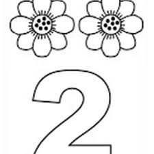 Learn Number 2 With Two Sunflowers Coloring Page