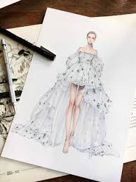 Fashion Dress Designs Drawings Wedding Vera Wang Pencil And In Color Famous Designer Drawn