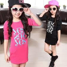 2018 2015 Spring Summer Teenage Girl Fashion Letter Kids Clothes