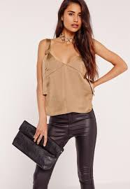 gold satin d ring detail cami top missguided