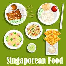 national cuisine of singaporean national cuisine flat icon stock vector illustration