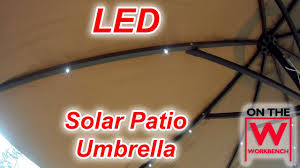 Solar Lighted Offset Patio Umbrella by Led Solar Umbrella Youtube