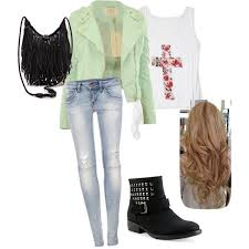 Clothes For Teenage Girls Cute Teen Fashion Girl Outfit Leather Jacket Denim Jeans Biker Boots