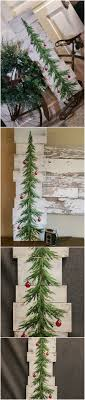 White Washed Red Bulbs Christmas Pine Tree Reclaimed Wood Pallet Art Hand