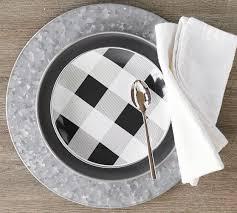 Buffalo Check Enamel Salad Plate Set of 4