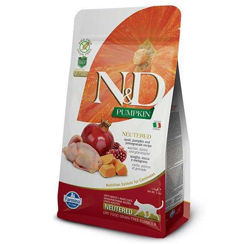 Farmina Natural and Delicious Quail Pumpkin and Pomegranate Neutered Recipe Grain Free Cat Food - 1.5kg