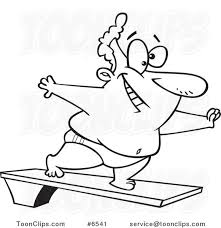 Cartoon Black And White Line Drawing Of A Chubby Guy On Diving Board 6541 By Ron Leishman