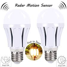 motion sensor led light bulbs 9w a19 e26 smart dusk to radar