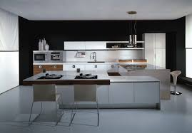Kitchen Decor Furniture Wondrous Black Wall Painted Added White Hardwood Modern
