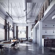 Loft Concrete Floor Scandinave Design Brick Wall