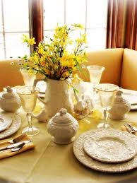 Spring Tablesetting With Forsythia Branches