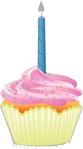 Free Clipart of a First Birthday Cupcake With a Candle