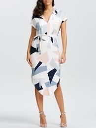 geometric print short sleeve midi dress white s in print dresses