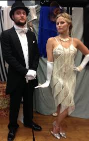 Rich 1920s Gala Couple Attire Socialite Couples Costumes Classy Gowns Mens Formal Exquisite Beaded Flapper