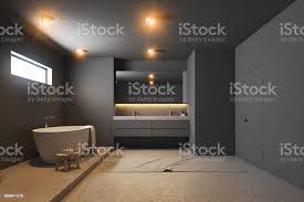 dunkel grau badezimmer interieur weiße wanne holz stockfoto und mehr bilder architektur