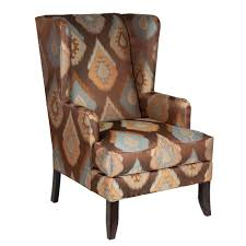 Fairfield Wing Chair Upholstered In Brown, Orange, Blue Ikat Lily Navy Floral Ikat Accent Chair Navy And Crimson Ikat Ding Chair Cover Velvet Ding Chairs Tufted Blue Meridian Fniture C Angela Deluxe Indigo Pier 1 Imports Homepop Parson Multicolor Set Of 2 A Quick Living Room And Refresh Stripes Whimsy Loralie Upholstered Armchair With Walnut Finish Polyester Stunning And Brown Ideas Ridge Table Eclectic Decatorist Espresso Wood Ode To The Skirted Katie Considers