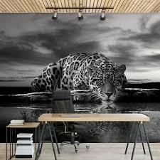 vlies fototapete tiger leopard tiere löwe schwarz weiß