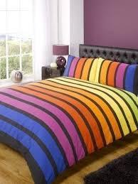 rapport soho bettwäsche set mit farbigen streifen blau lila orange gelb grün für einzelbetten schlafzimmer bettwäsche