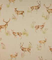 Material For Curtains And Blinds by Wild Deer Fabric A Traditional Country Design Made From A Linen