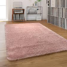 hochflor teppich shaggy waschbar für wohnzimmer und schlafzimmer einfarbig in rosa