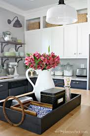 Great Idea Put A Tray On The Kitchen Island To Keep Necessities Organized