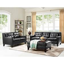 roxi leather living room sofa loveseat black ks17 living