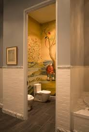 bathroom chair rail with wall mural bathroom eclectic and