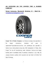 100 Cooper Tires Truck Tires AN OVERVIEW ON THE COOPER TIRE RUBBER COMPANY