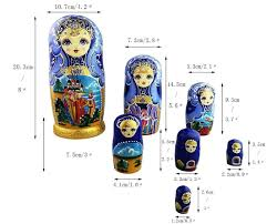 100 Matryoshka Kitchen Home Winterworm Set 7 Pcs Fairy Tale Blue Gold