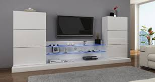 furniture24 wohnwand anbauwand hochglanz weiß weiß hochglanz mit beleuchtung