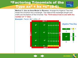 algebra tiles factoring lesson 8 6 warm up ppt