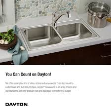 19 X 33 Drop In Kitchen Sink by Elkay Dayton D233193 Equal Double Bowl Top Mount Stainless Steel