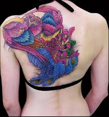 Asian Style Multicolored Peacock And Flower 3D Tattoo On Back