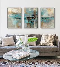 3 stück ölgemälde auf leinwand türkis gemälde dekorative wand malerei leinwand bilder für wohnzimmer moderne abstrakte kunst