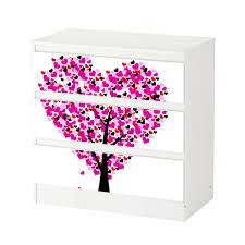 set möbelaufkleber für ikea kommode malm 3 fächer schubladen liebe baum herz blumen rosa abstrakt schlafzimmer aufkleber möbelfolie sticker ohne