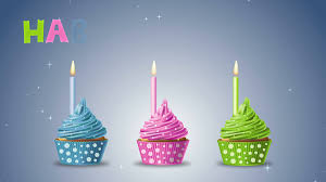 Happy Birthday With Cupcakes And Candles On A Blue Background 4K Ultra High Definition Motion