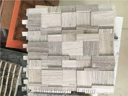 Wooden Marble Chips High Low Mosaic Tiles For Wall Tile