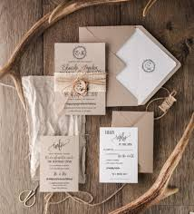 Rustic Wedding Invitation Set 20 Craft Suite Burlap Wooden Slice Invitations Monogram Invites