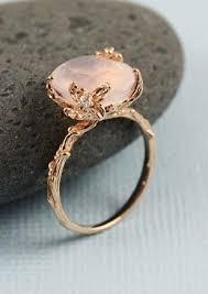 Handmade Pink Gold Oval Rose Quartz Ring