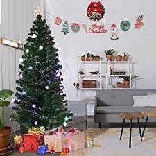 Goplus 6FT Fiber Optic Christmas Tree Pre Lit Artificial Fireworks Spruce W Multicolor LED Lights Top Star Blossom Bell Decorations