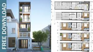 100 Narrow House Designs 5 Story Plan With 7 Bedrooms Plot 39x173 Meter