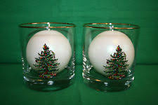 Spode Christmas Tree Glasses by Set Of 4 Spode Christmas Tree Old Fashioned Glasses 22k Gold Rim