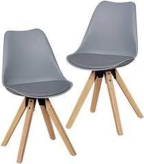 finebuy design esszimmerstühle 2er set grau fb5056 skandinavische stühle mit holzbeinen retro stuhlset kunststoff küchenstühle mit kunstleder