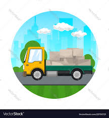 Icon Of Small Truck With Boxes On The Road Vector Image