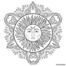Boho Hand Drawn Vintage Sun With Doodle Mandala Gypsy And Hipster Vector Illustration For