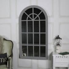 details zu groß grau rustikal fenster spiegel wand schlanker shabby vintage chic wohnzimmer