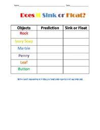 Materials Sink Or Float by Does It Sink Or Float Worksheet Freebie By Kelsey Pierce Tpt