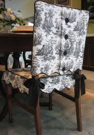Scalloped Edge Toile Chair SuitR With Covered Button Closure The Skirt Ties On Coordinated Satin Ribbon Both Jacket And Are Lined